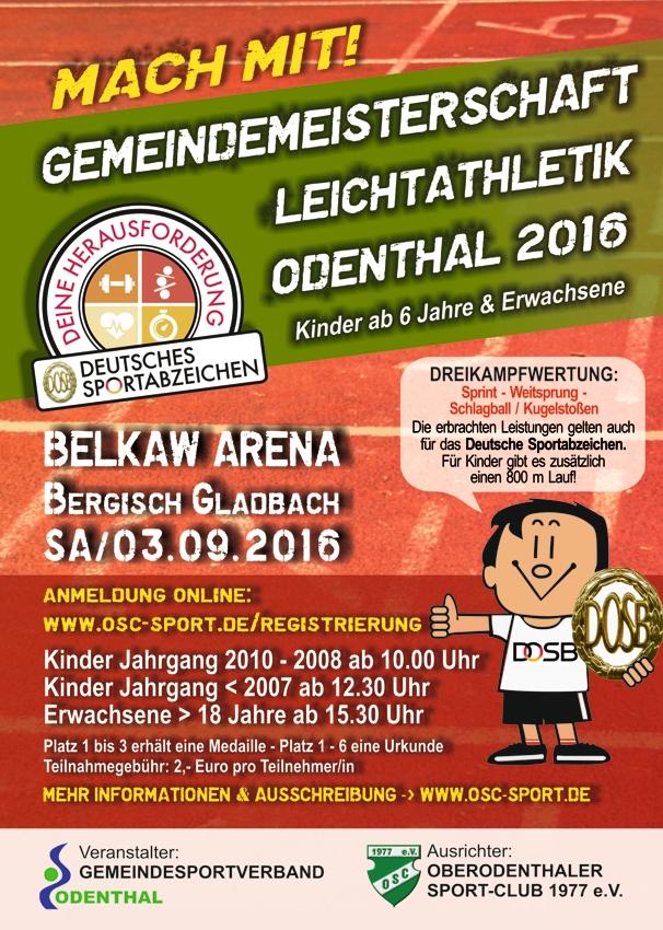 Gemeindemeisterschaft Leichtathletik Odenthal 2016 Belkaw Arena 03.09.2016