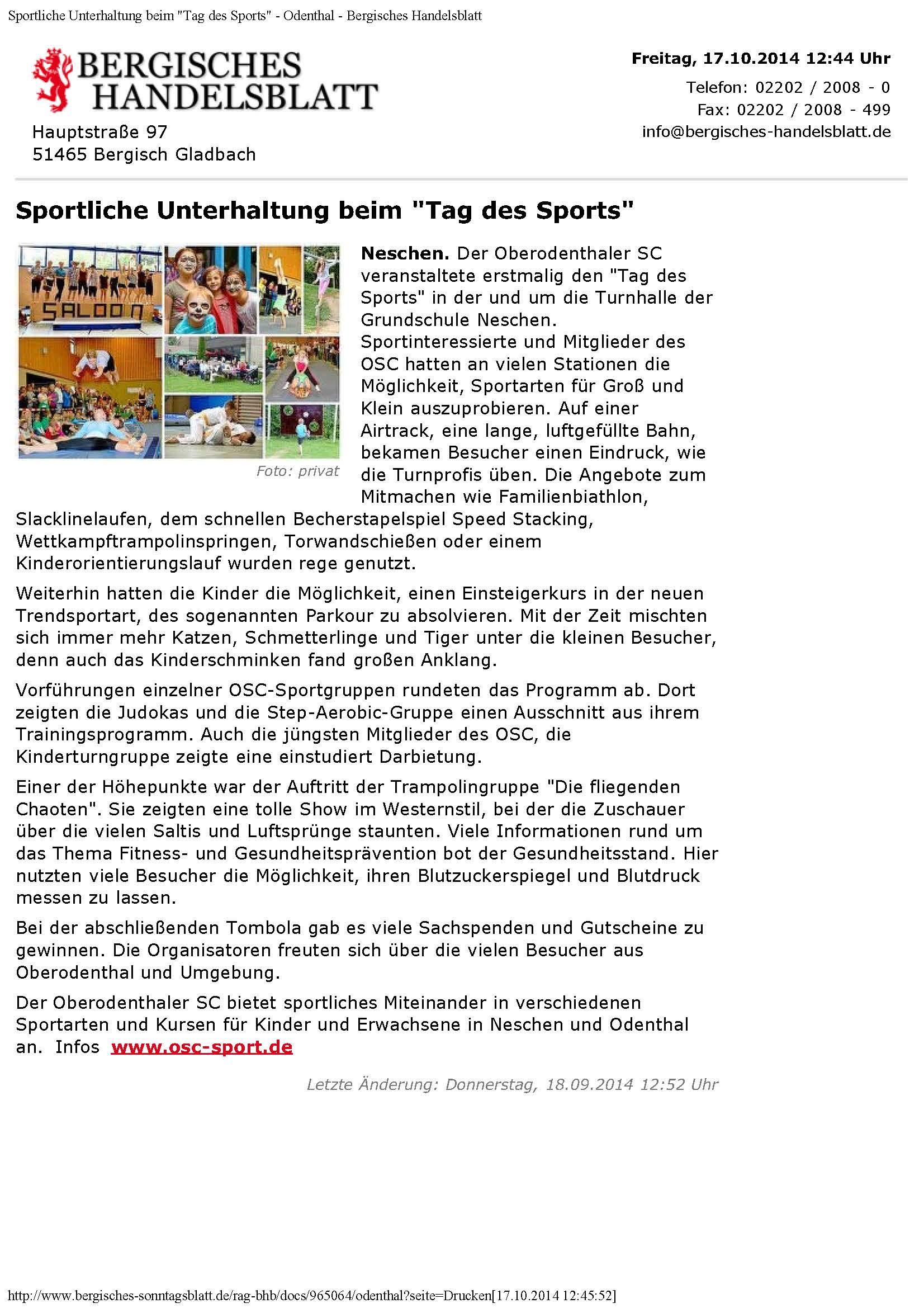 Sportliche Unterhaltung beim _Tag des Sports_ - Odenthal - Bergisches Handelsbla