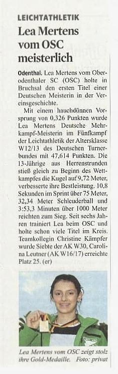 Presseartikel Kölner Stadtanzeiger / Bergische Landeszeitung vom 28.09.2016