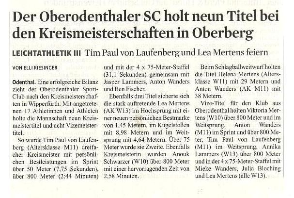 Veröffentlich Bergische Landeszeitung im Mai 2016