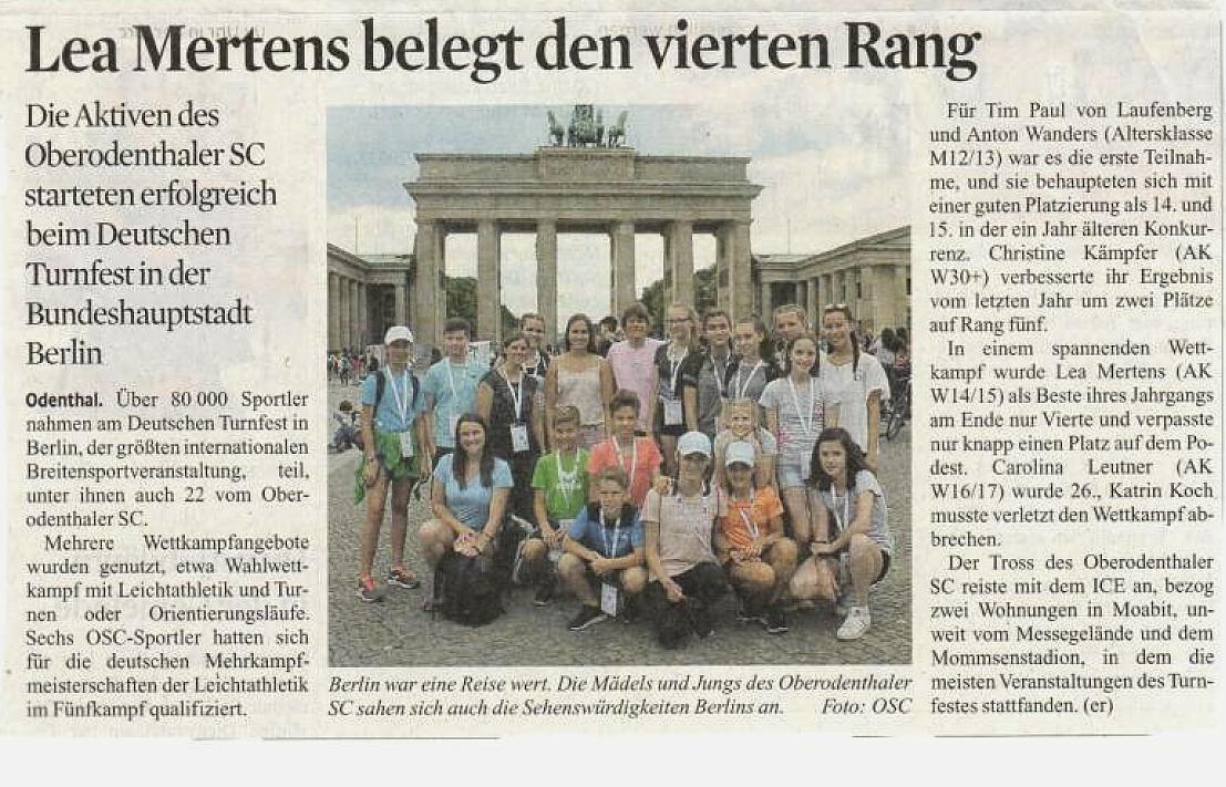 OSC beim Deutschen Turnfest in Berlin