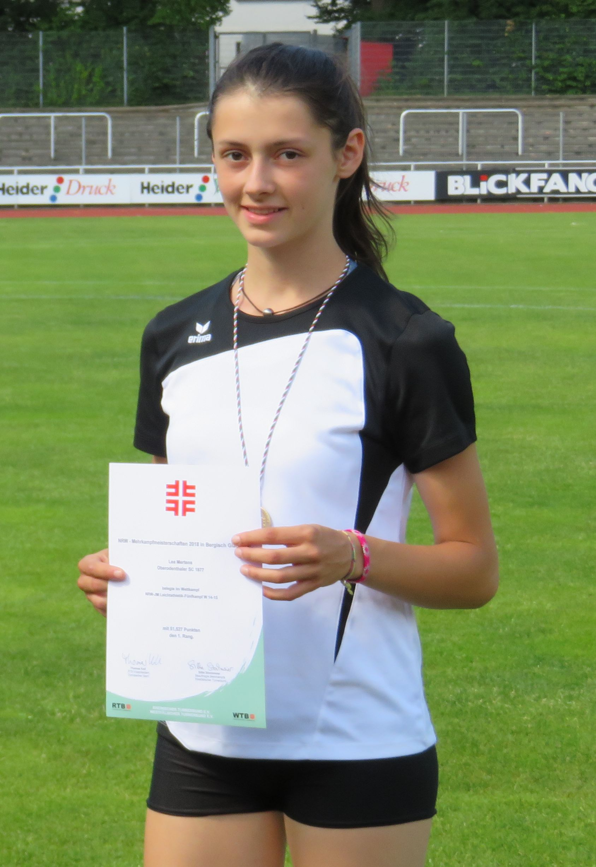 NRW-Mehrkampfmeisterin 2018 Lea Mertens (W14/15) Oberodenthaler SC RTB Fünfkampf